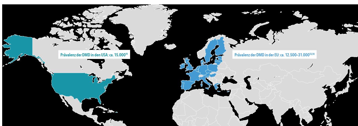 Demographie und Epidemiologie der DMD - Weltkarte (EU und USA)